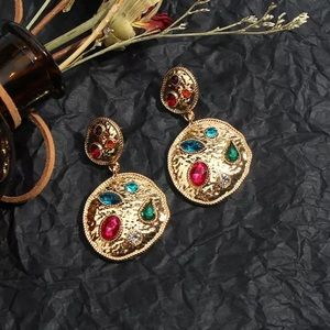 Colorful Gold Tone Drop Earrings